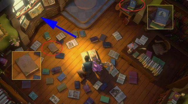 Enredados - Entre los libros se encuentran La Sirenita Ariel, La Bella y La Bestia y La Bella Durmiente.