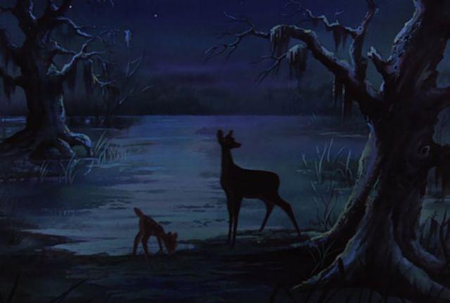Los Rescatadores - En una escena podemos ver claramente a Bambi y a su mama.