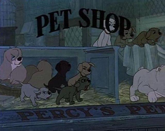 En Los 101 Dalmatas - Vemos a Peg de La Dama y El Vagabundo en la tienda de mascotas.